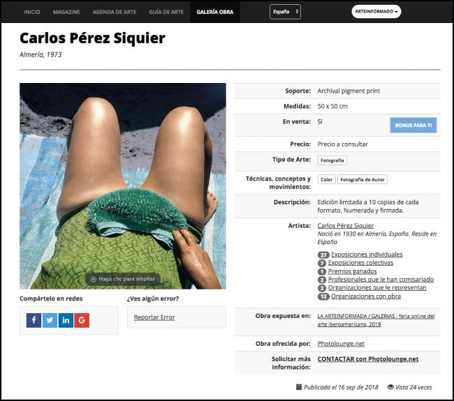 Captura de una obra, donde se tiene a un click toda la información del artista   LA ARTEINFORMADA convoca a curadores a seleccionar el mejor arte iberoamericano
