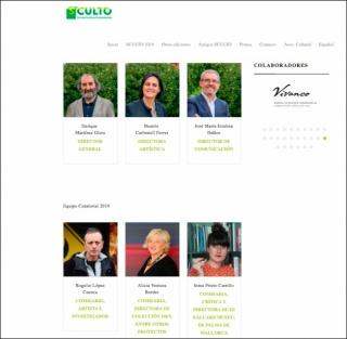 Equipos directivo (arriba) y curatorial. Pantallazo de la web de SCULTO