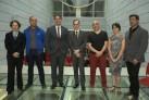 Gaudêncio Fidelis, curador jefe, en el centro, junto al primer equipo curatorial anunciado. Cortesía Fundação Bienal de Artes Visuais do Mercosul