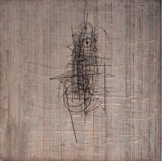 Jesús Rafael Soto.Vibration, 1961. Madera, yeso y metal 100 x 100 x 17 cm. Foto Oriol Tarridas.