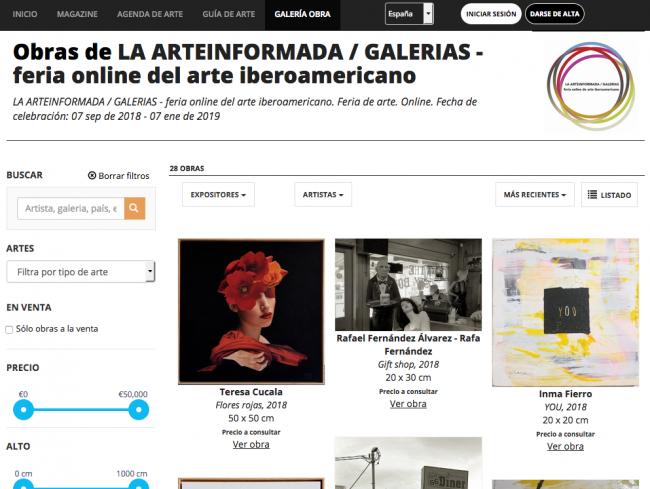 Captura de las primeras obras presentadas en LA ARTEINFORMADA - GALERIAS | LA ARTEINFORMADA, primera feria online del arte iberoamericano