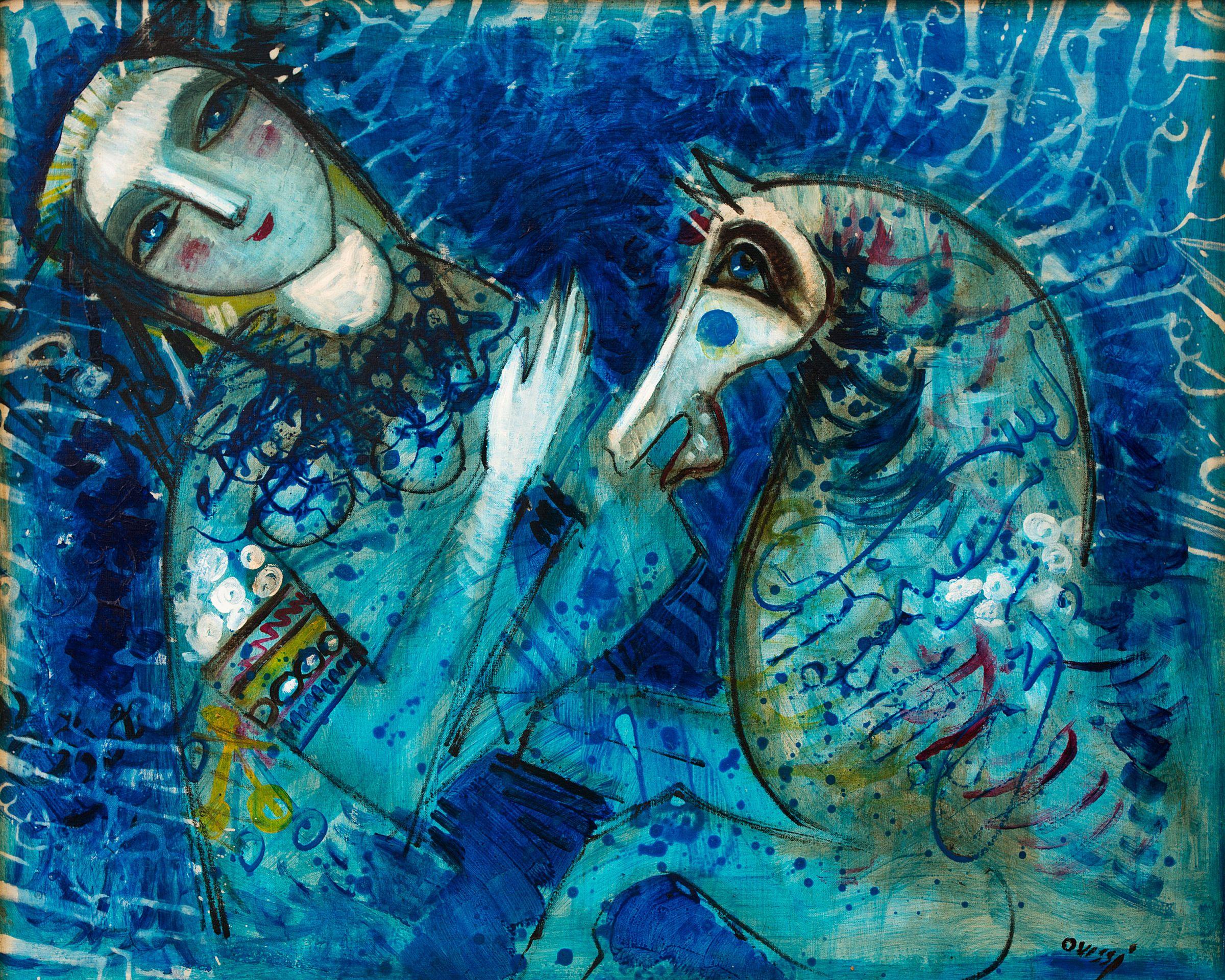 Mujer y Caballo en Azul