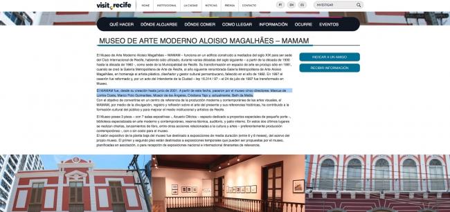 Pantallazo con información sobre el museo
