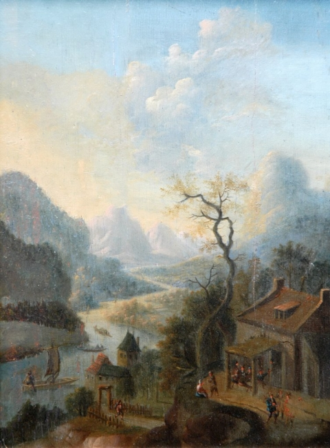 Sala Clasica - A RHENISH RIVER LANDSCAPE WITH FIGURES OUTSIDED A HOUSE