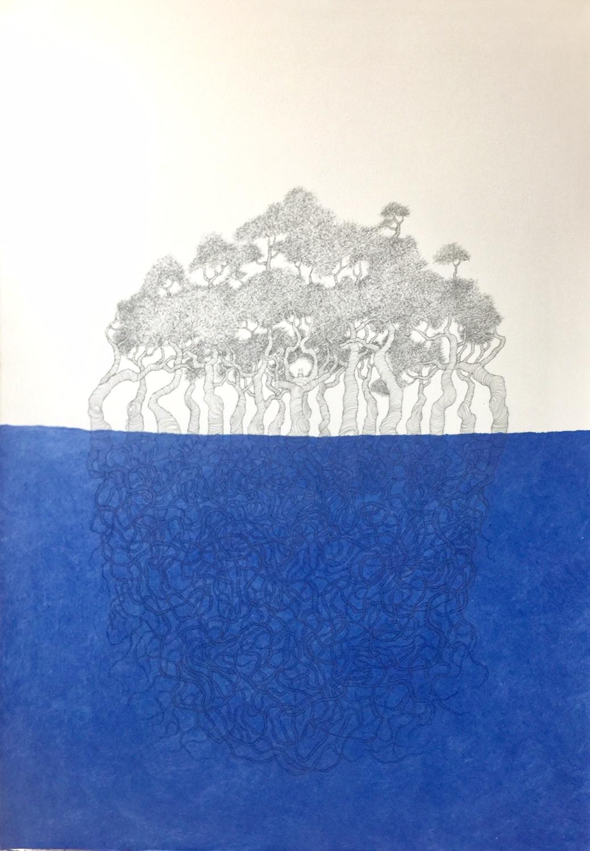 Silla y Árbol. Bosque-isla en azules (2020) - María Ángeles Atauri