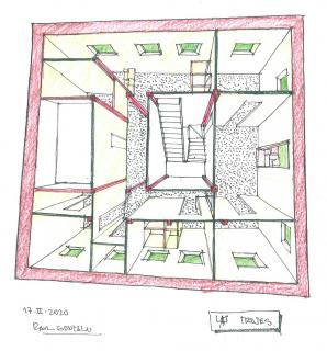 """""""Las trojes"""" (Dibujo de Raúl Gonzalo recreando el interior de EspacioArteVACA)"""