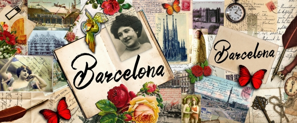"Collage \""Barcelona vintage\"" para souvenirs Amazonik (Barcelona)"
