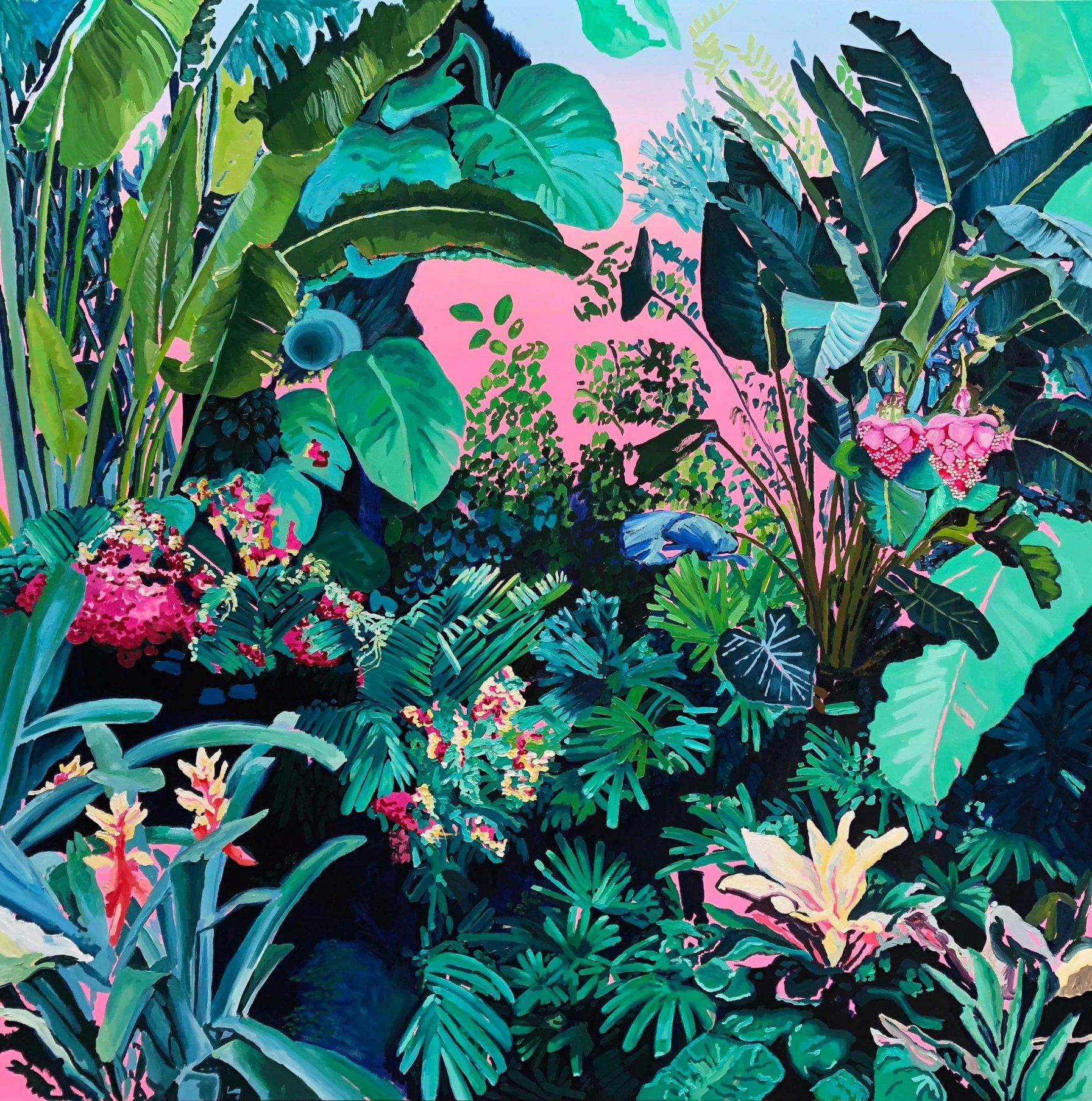 Jardin con fondo rosa