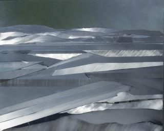 líneas, mixta sobre aluminio 66 x 65 cm.
