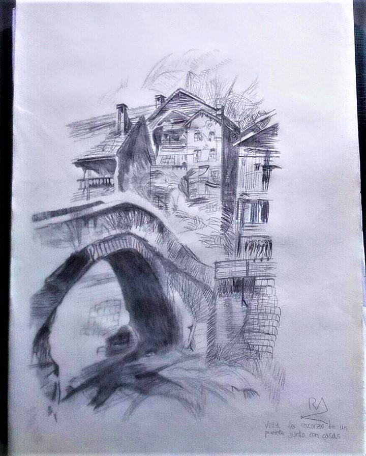 Vista de un escorzo de puente junto con casas (2014) - Roberto Alba
