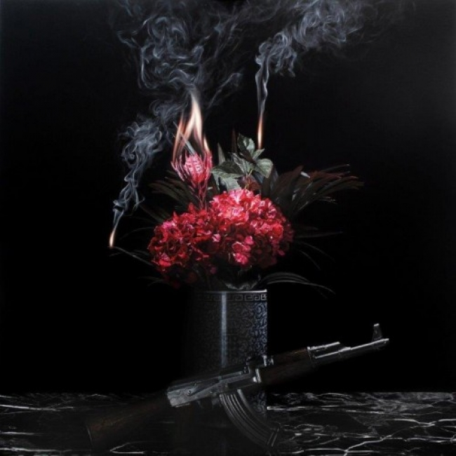 """STILL LIFE BY KALASHNIKOV"" 2015 Óleo sobre tela 150x150cm. Cortesía de 3 Punts"