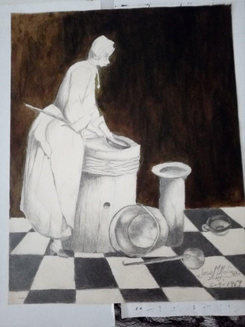 La mujer limpiando (1959) - José Manuel Molina Fuentes