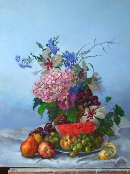 Bodegón con hortensia. Óleo sobre tela imprimada, 81X65 cm