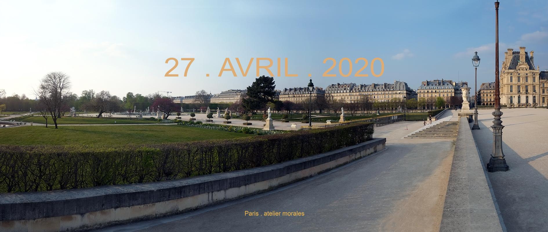43eme jour de confinement. 27 avril 2020. Jardin des Tuileries Paris (2020) - Teresa Ayuso & Juan Luis Morales  - Atelier Morales