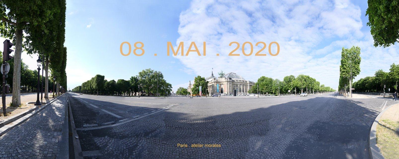 54eme jour de confinement.  08 mai 2020. Champs Elysées. Grand Palais. Paris (2020) - Teresa Ayuso & Juan Luis Morales  - Atelier Morales