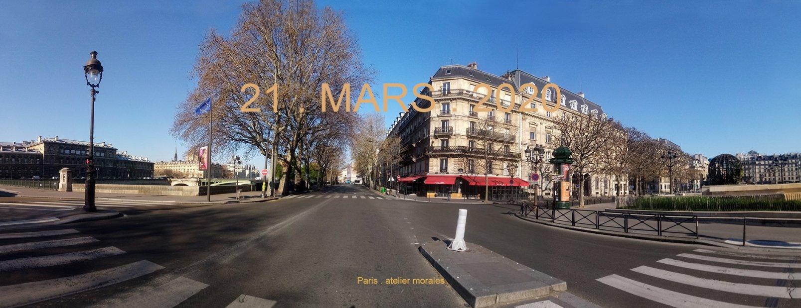 6eme jour de confinemenT. 21 mars 2020. Quai de l'Hôtel de Ville. Quai des Gesvres Paris (2020) - Teresa Ayuso & Juan Luis Morales  - Atelier Morales