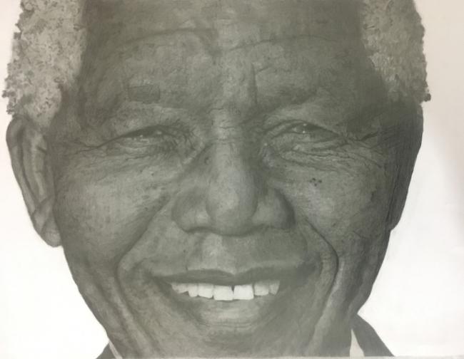 Mandela, dibujo a lápiz, 50cmx65cm