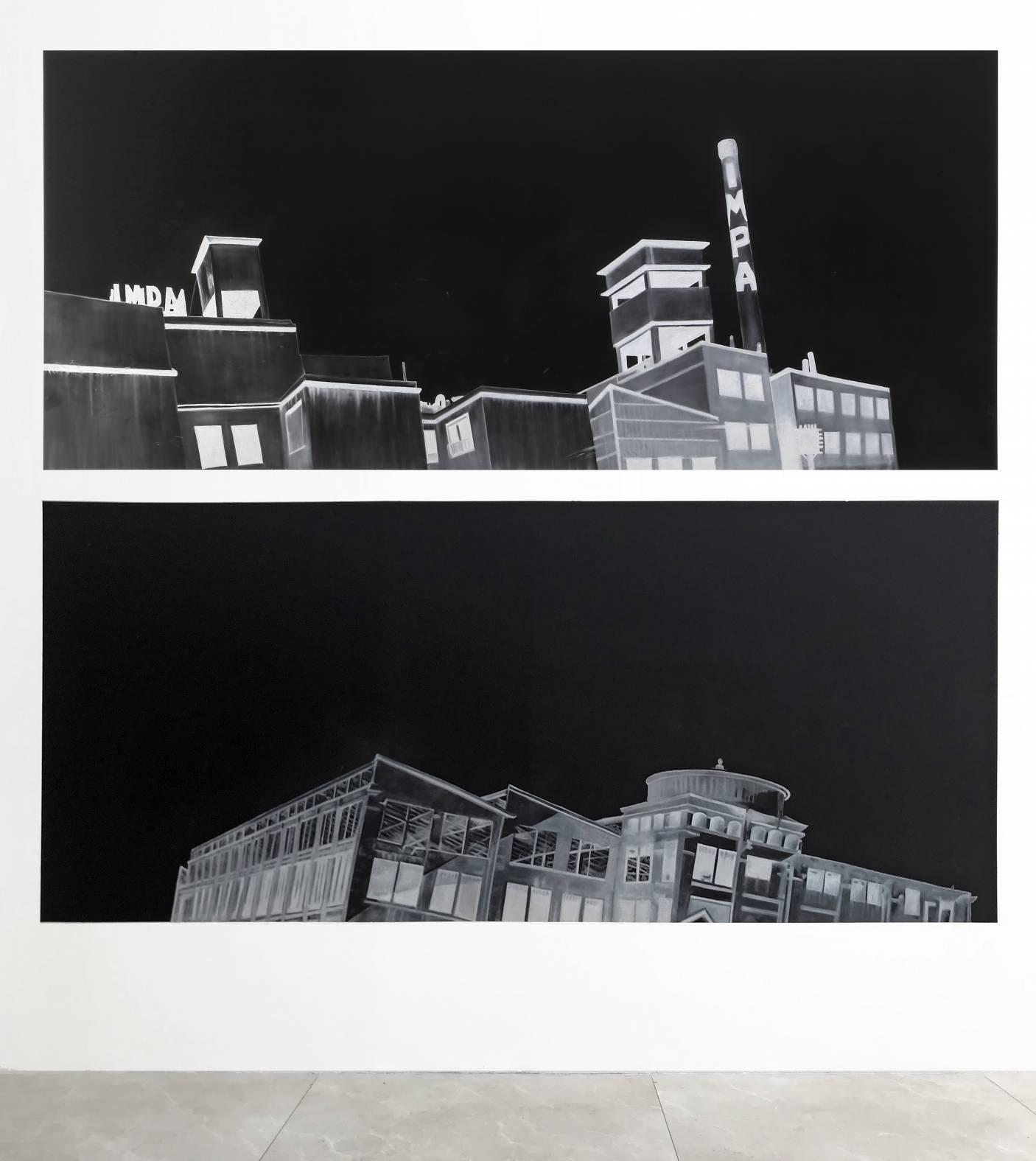 Fábrica desde una inclinación a la izquierda. Fábrica desde una inclinación a la derecha. Serie: Salida de los Obreros del Museo. (2017) - Alexander Apóstol