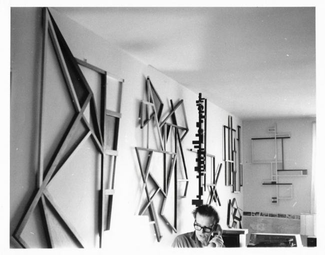 mage: Nikolai Kasak in his apartment/studio with Arte Madí pieces, Riverdale, New York. Photographer unknown. Late 1960s. Courtesy of Institute for Studies on Latin American Art (ISLAA).