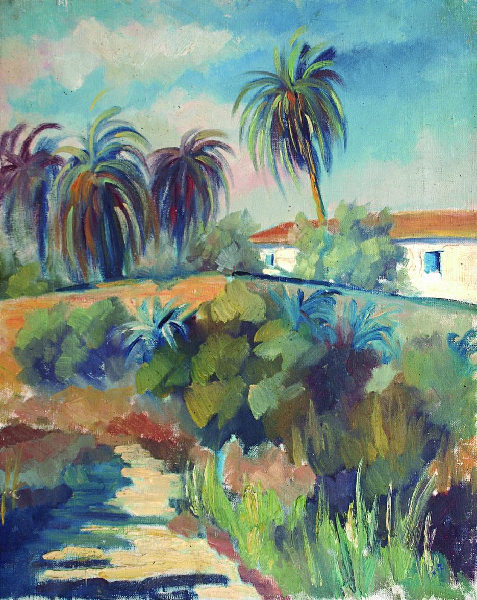La casona 'Xàtiva', óleo sobre lienzo (1951) - Juan Francés Gandía - Juan Francés