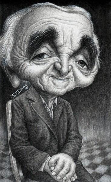 Charles Aznavour - Dibujo de Walter Toscano