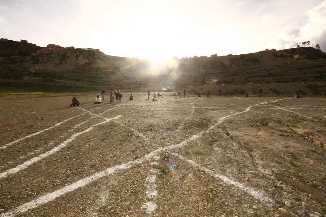 Aldair Indra con Yhomara Muñoz-Memorias de la tierra-Intervención Urbana Land Art