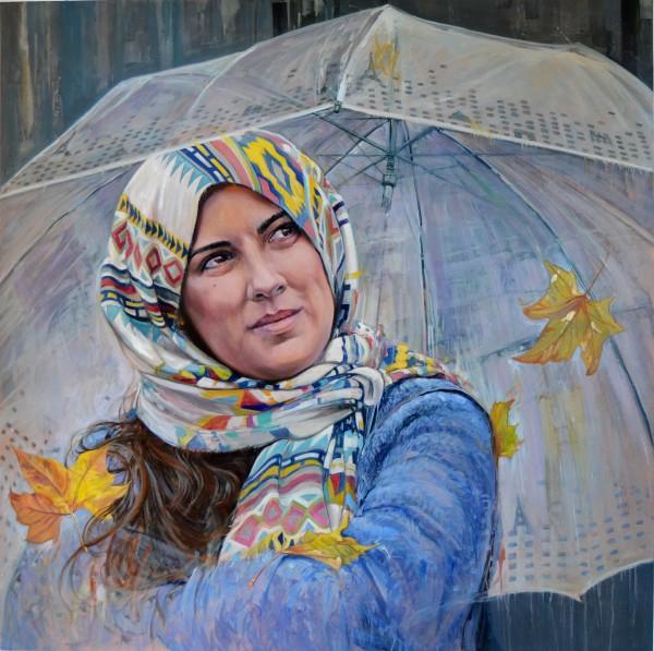 Mujer con parguas
