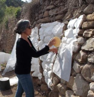Ánima Natura - Cast Paper sobre un muro de piedra seca