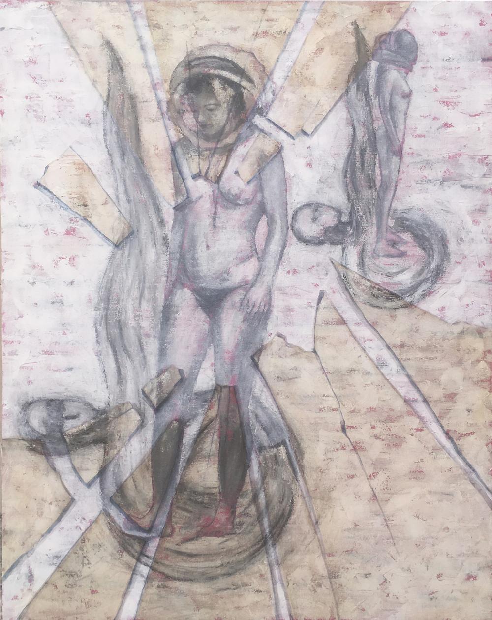Serie Cuadros rotos. Carne cósmica. 100x81. Acrílico sobre lienzo. (2018) - Enrique Demetrio