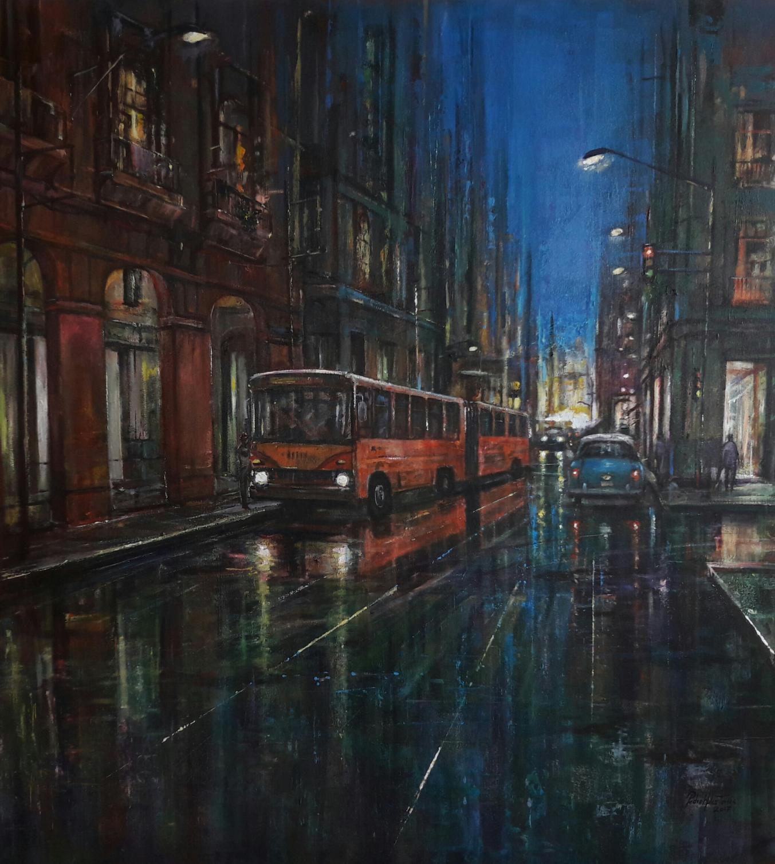 Calles húmedas de la Habana en la noche