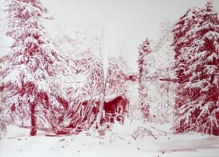 Rotte haus am see – acuarela y tinta china sobre papel – 70×100 cm
