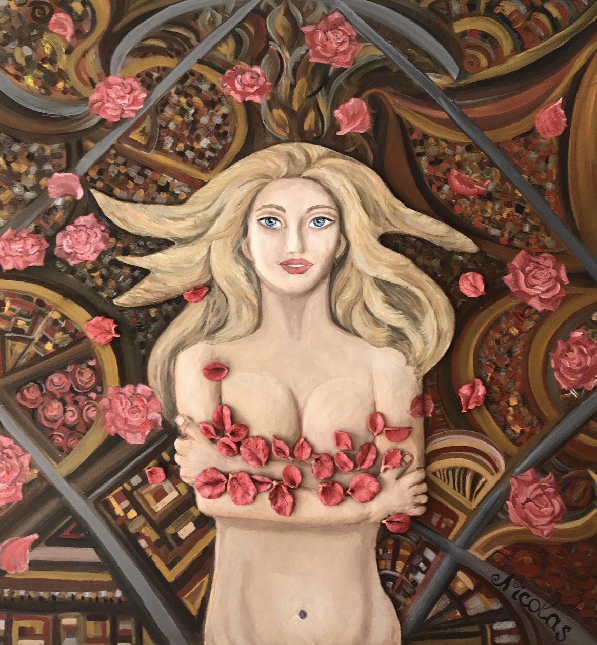 """«Café y pétalos de rosa"""" (2019) - Pintor Nicolas"""