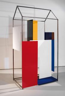 S/T., 1996, Nalón relleno y madera, 197 x 186 x 123 cm.