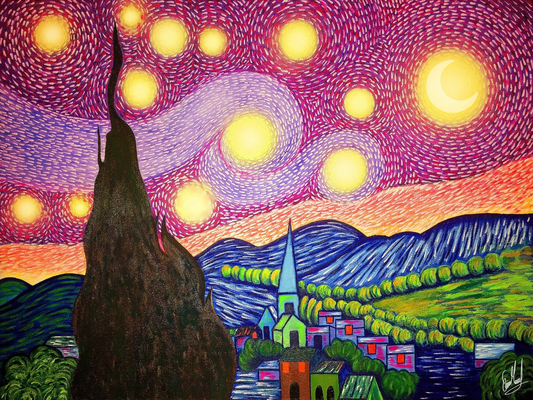 Colorful Starry Night (2019) - Erika Marcela Cocuñame Ricardo - Emarcela