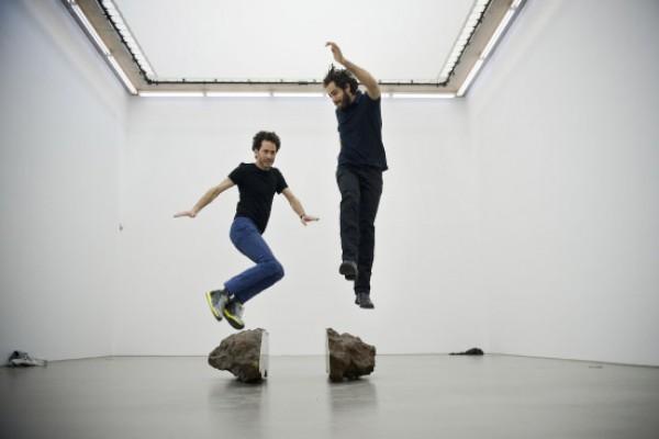"Faivovich & Goldberg with the two pieces of \""El Taco\"""