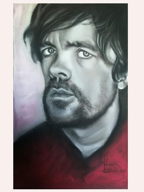 Retrato a carboncillo de Tyrion Lannister, personaje de la serie Juego de Tronos