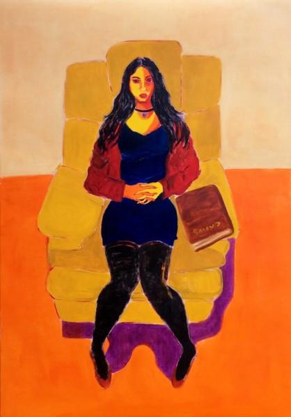 Mujer y libro - óleo sobre papel entelado - 100 x 70 cm - 2016