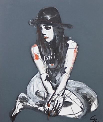 """""""Mujer con sombrero de hongo posando"""" (2012) - Agustín de Córdoba - Agustín Decórdoba"""