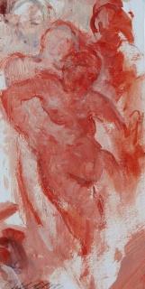 Angelo Zanella - Senza titolo. (2015. olio su carta. 22 x 11 cm)