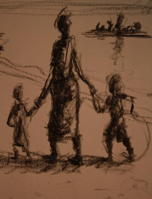 Mujer y niños en la playa