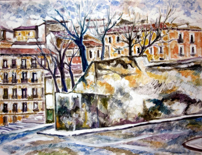 Calle de Segovia Madrid- Gouache-papel 50x65cm (2010) - Juan Jiménez