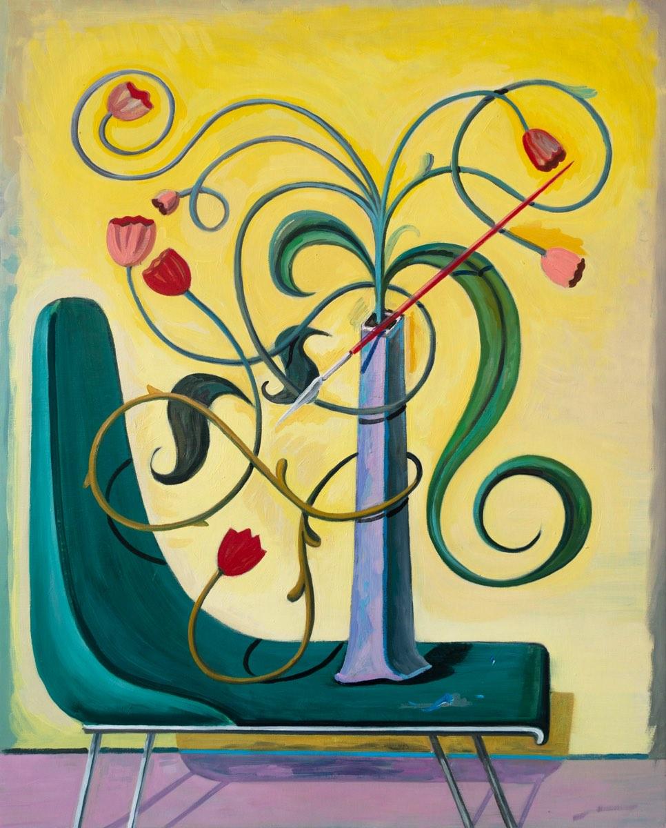 Blumen Hieroglyphe hält Pinsel 2, 2020, oil on canvas, 100x81 cm (2020) - Tomás Morell Brenner