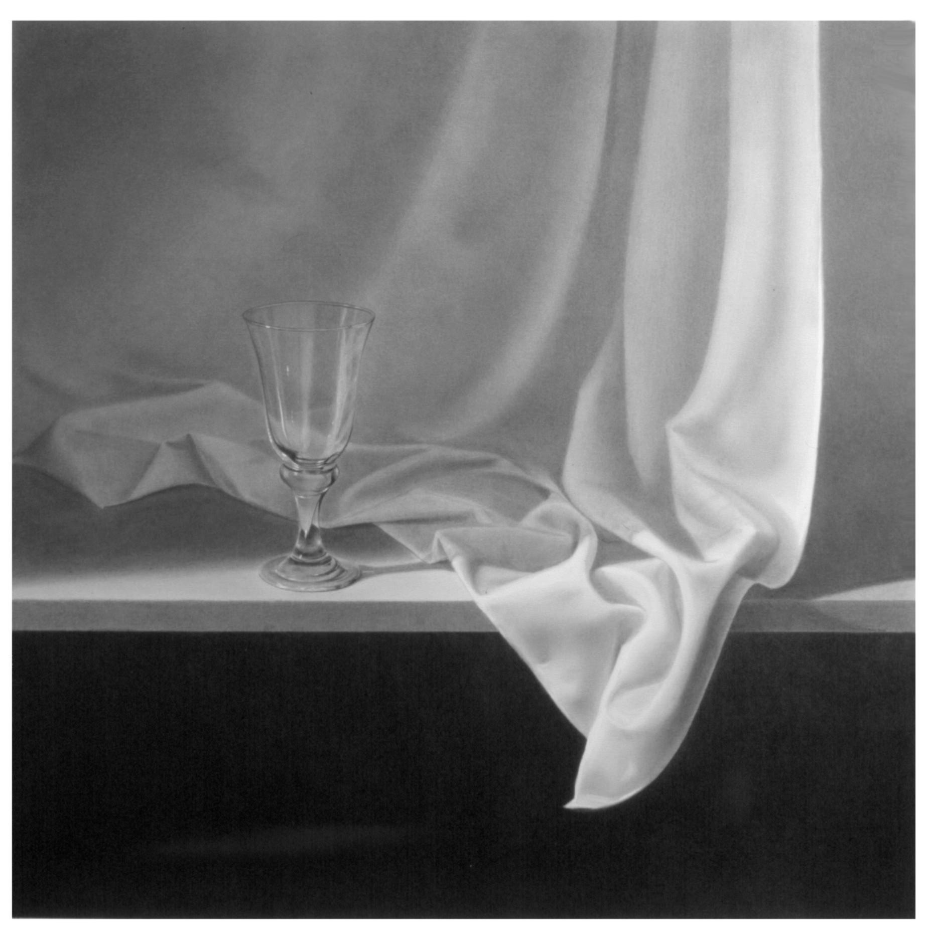 Tela sobre mesa y copa de cristal (2001) - Angel Luis Muñoz Durán