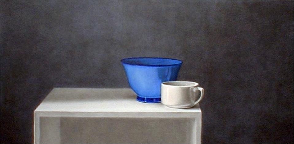 Taza y cuenco azul sobre mesa (2003) - Angel Luis Muñoz Durán