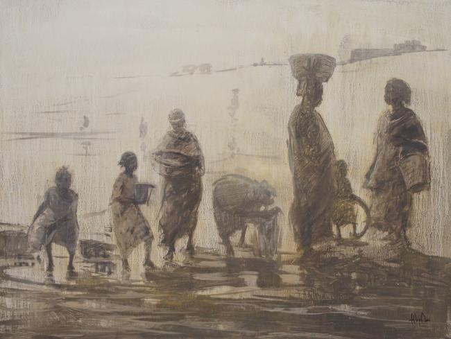 Lavanderas de barro 54 x 65 cm , técnica mixta bogolán , tinte natural nglama y barro de Mali y acrílico artesanal