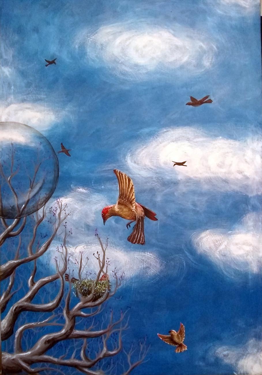 Jacaranda y nido con esfera (2020) - Oscar Aguirre