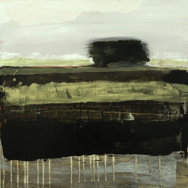 Víctor Alba. Paisaje con árbol, 2015. Técnica mixta sobre tabla, 60 x 60 cms.