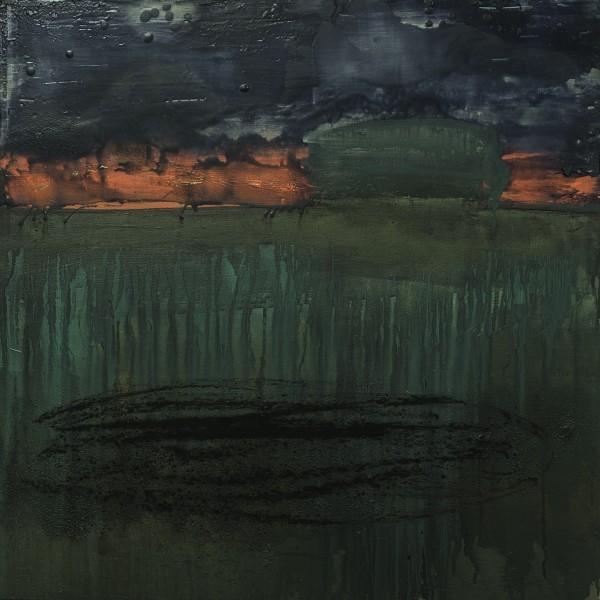 Víctor Alba. Paisaje con árbol, 2015. Técnica mixta sobre tabla, 60 x 60 cm.