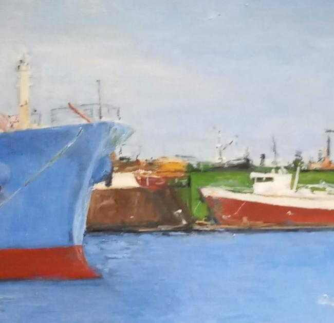 Barcos en Puerto de Mar del Plata, detalle. Óleo sobre lienzo