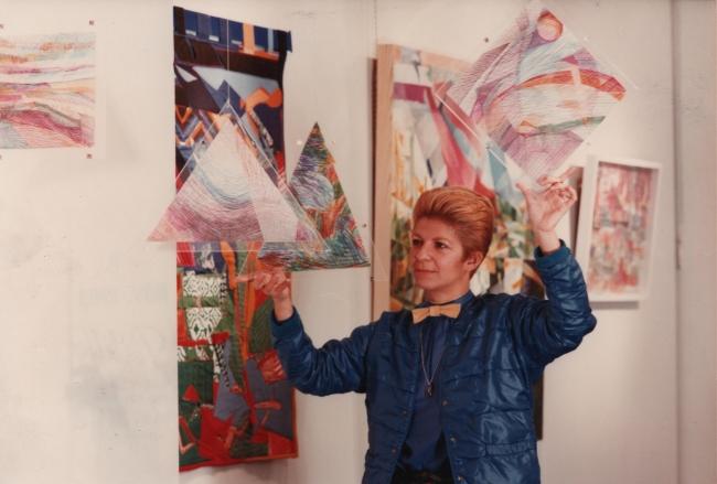YR en su exposición Yolanda del Riego: Obra reciente (Centro Cultural de los EEUU, 1983)